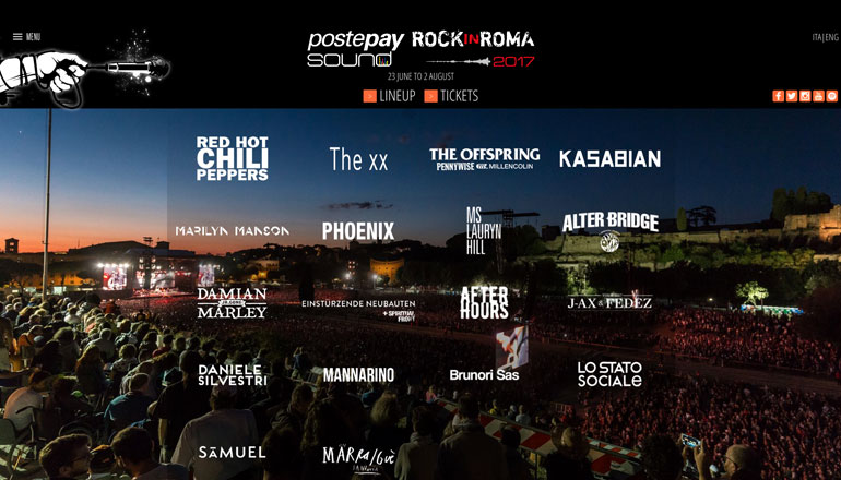 homepage sito PostePay Rock in Roma 2017