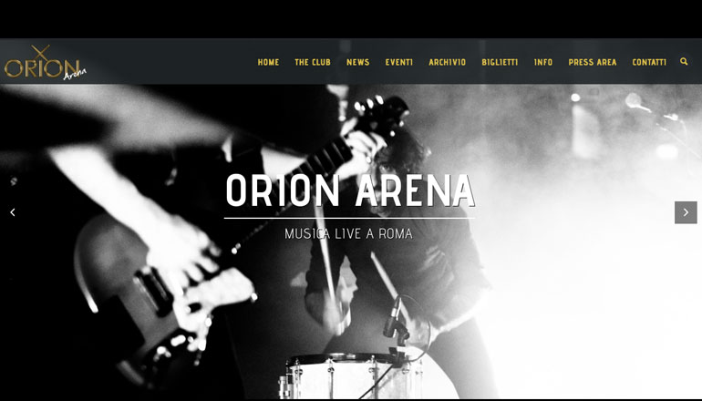 Homepage sito orionliveclub.it